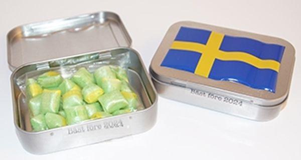 Sverige plåtburk med godis