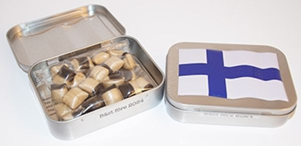 Finland plåtburk med godis