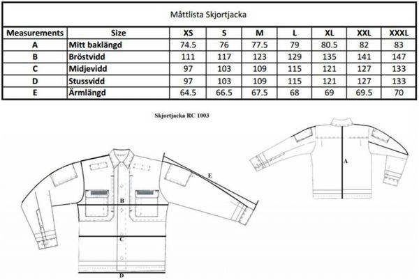 Skjortjacka mattabell