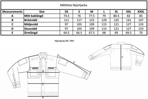Skjortjacka måttabell