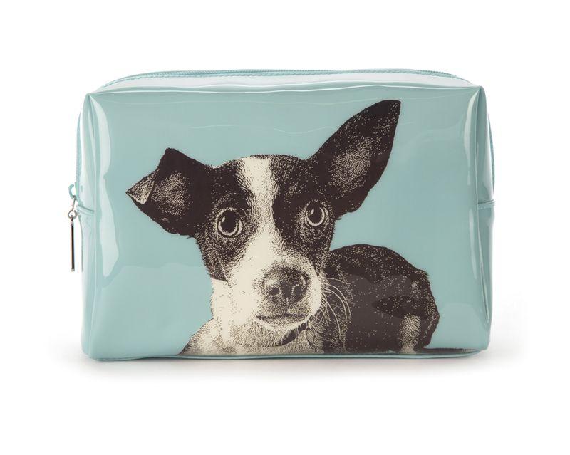 Etching Dog Large Beauty Bag