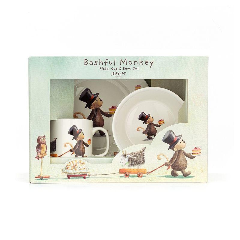 Bashful Monkey Bowl, Cup & Plate