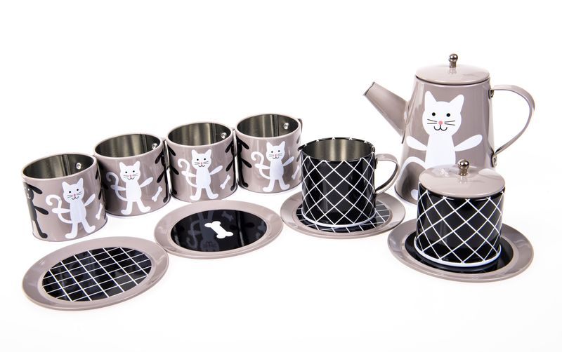 Tin Tea Set Grey