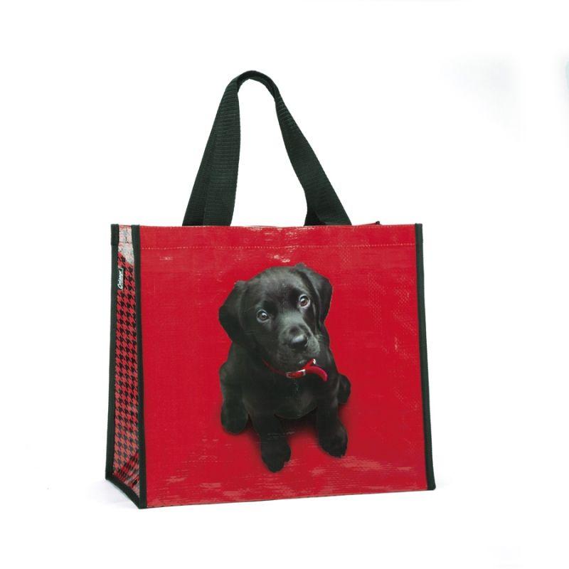 Black Lab on red Shopper