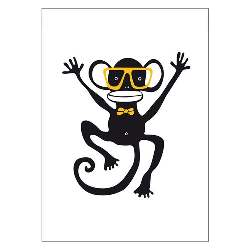 Poster Apa med glasögon Gul