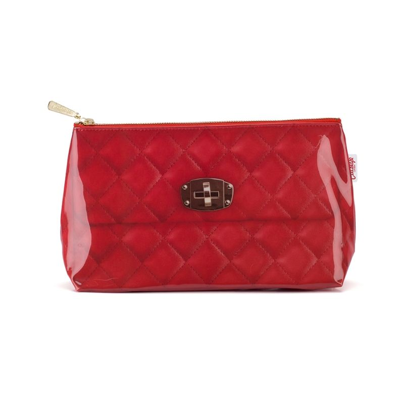 Red Quilted Wash Bag