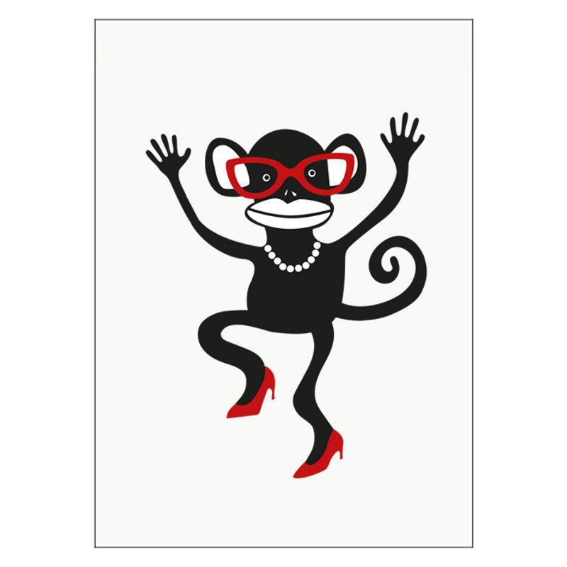 Poster Apa med glasögon röd
