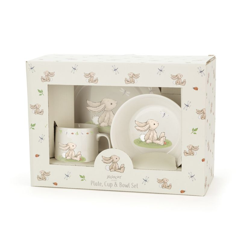 Bashful Bunny Ceramic Bowl, cup & plate set