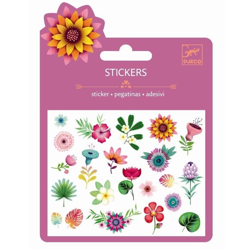 Stickers Glitter - Tropical flowers
