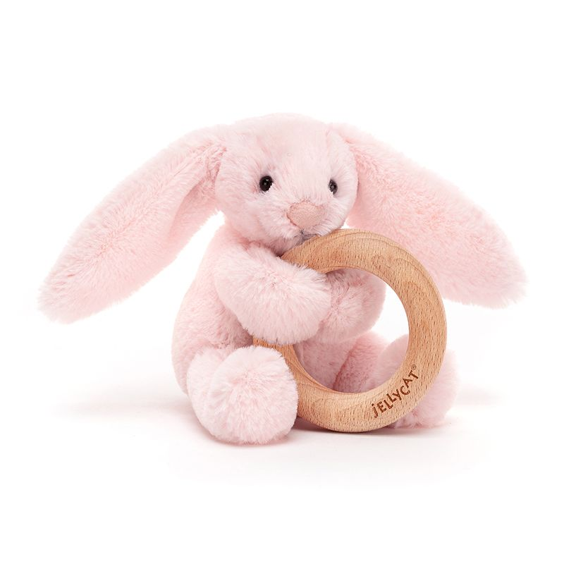 Bashful Pink Bunny Wooden Ring Toy