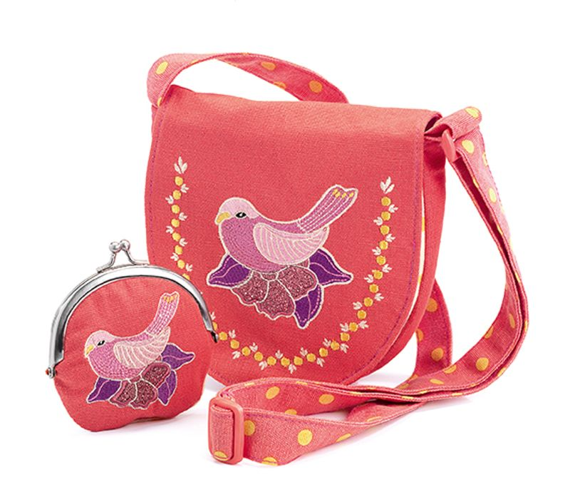 Embroidered bird, bag and purse