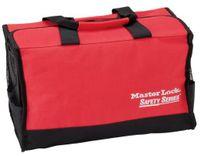 Röd bärväska med 2 plastlådor (tomma) för lockoututrustning
