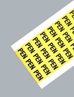 Symbol PEN,9x13 mm. Svart på gul självhäftande MT80 väv. 54 st/karta. 10 kart/förp.