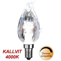 Kallvit Dimbar Kronljuslampa Diamond LED 4,0W 300lm E14