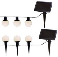 Ljusslinga Vita bollar LED m solpanel 6-ljus