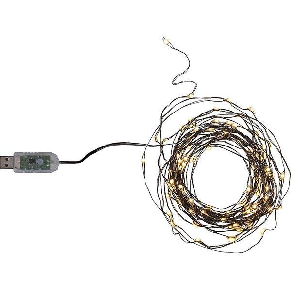 Dew Drops String 100 LED Chaser Varmvit/Svart för USB