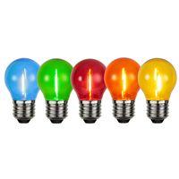 Klotlampa Filament LED 15lm E27 Färgade, 5-pack