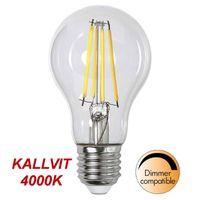 Kallvit Dimbar Normallampa Filament LED 8,0W 890lm E27