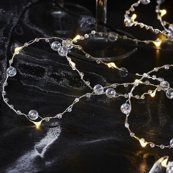Dew Drops Glass Pearl 20 LED Varmvit/Silver för batteri