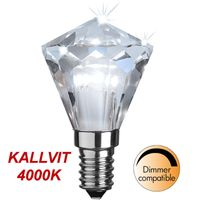 Kallvit Dimbar lampa Diamond LED 3,3W 240lm E14