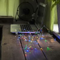 Dew Drops String 100 LED Chaser RGB/Silver för USB