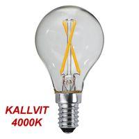 Kallvit Klotlampa Filament LED 2,3W 270lm E14