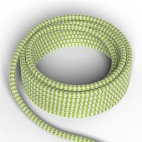 Textilkabel Grön/Vit