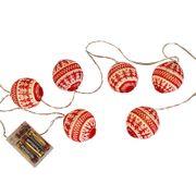 Ljusslinga Knitted LED för batteri 6-ljus, röd/vit
