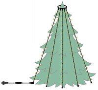 Julgransbelysning med 6 st LED-slingor för utomhusbruk kallvitt ljus