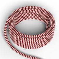 Textilkabel Röd/Vit
