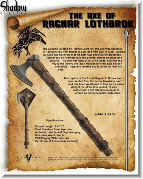 Äkthetsintyg Ragnar Lothbrok yxa