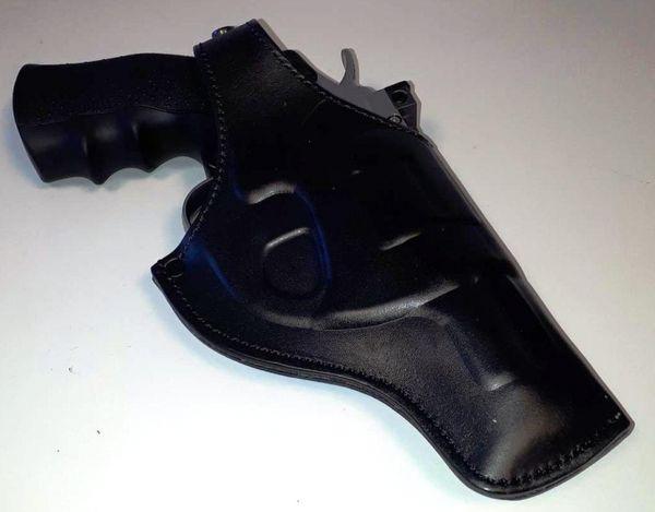 Svart formgjutet revolver hölster i äkta läder