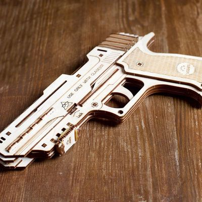 Ugears Wooden Model Kit - Wolf-01 Rubber Band Hand Gun