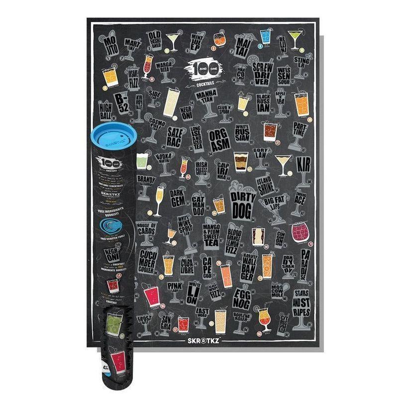 Skrapbar affisch med 101 Cocktails