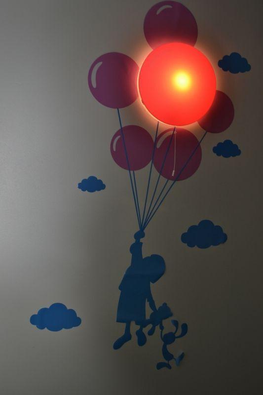 Ballonglampa med väggdekor