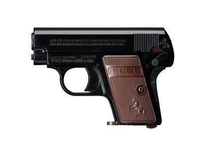 Colt 25 svart, fjäderdriven pistol