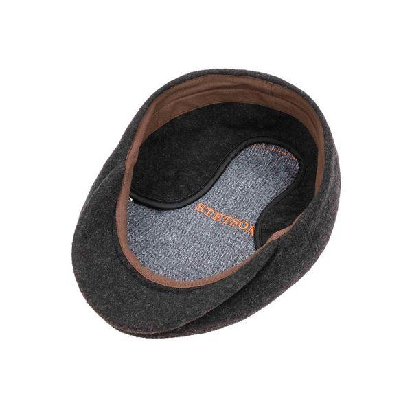 Kent Wool/Cashmere Ear Flap Black Flat Cap - Stetson